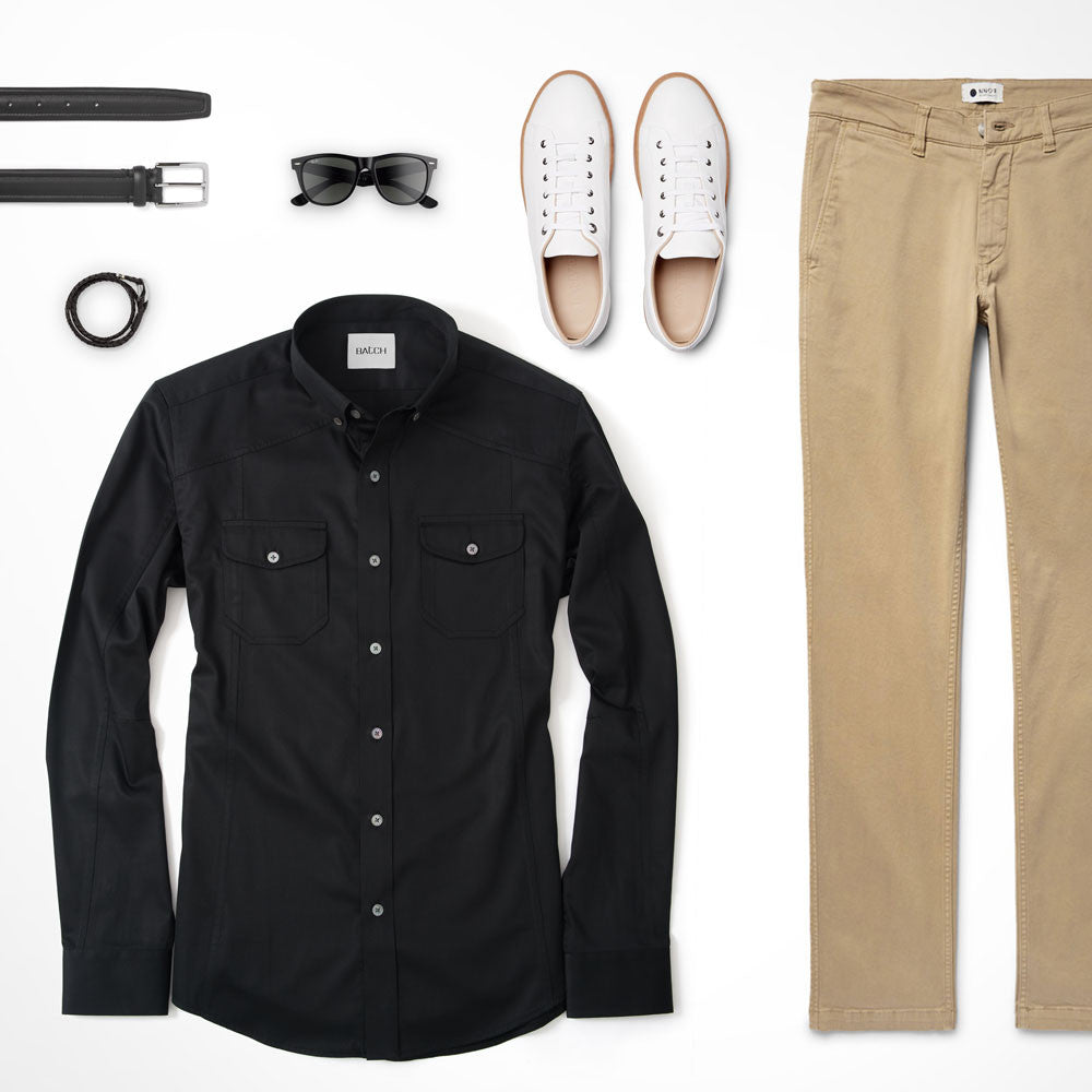 Black Utility Shirt Outfit with Khakis