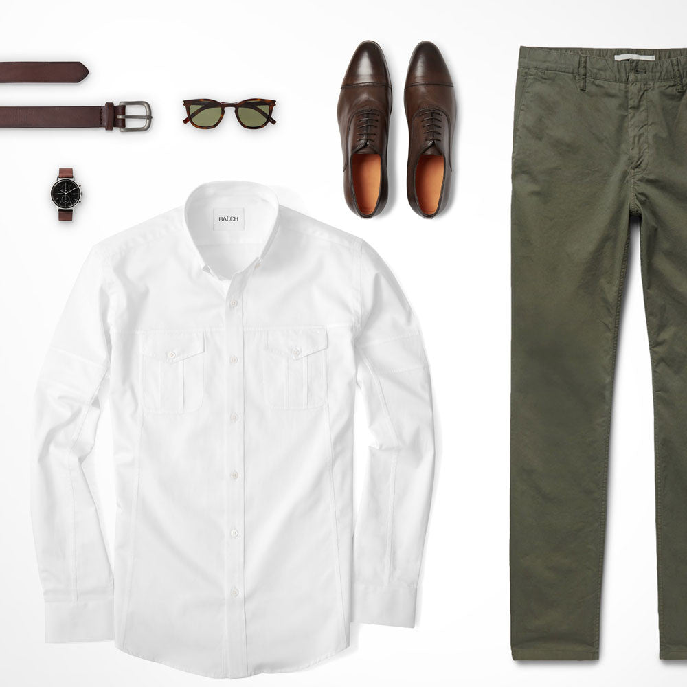 Army Green Bottom Neutral Top Utility Shirt Outfit