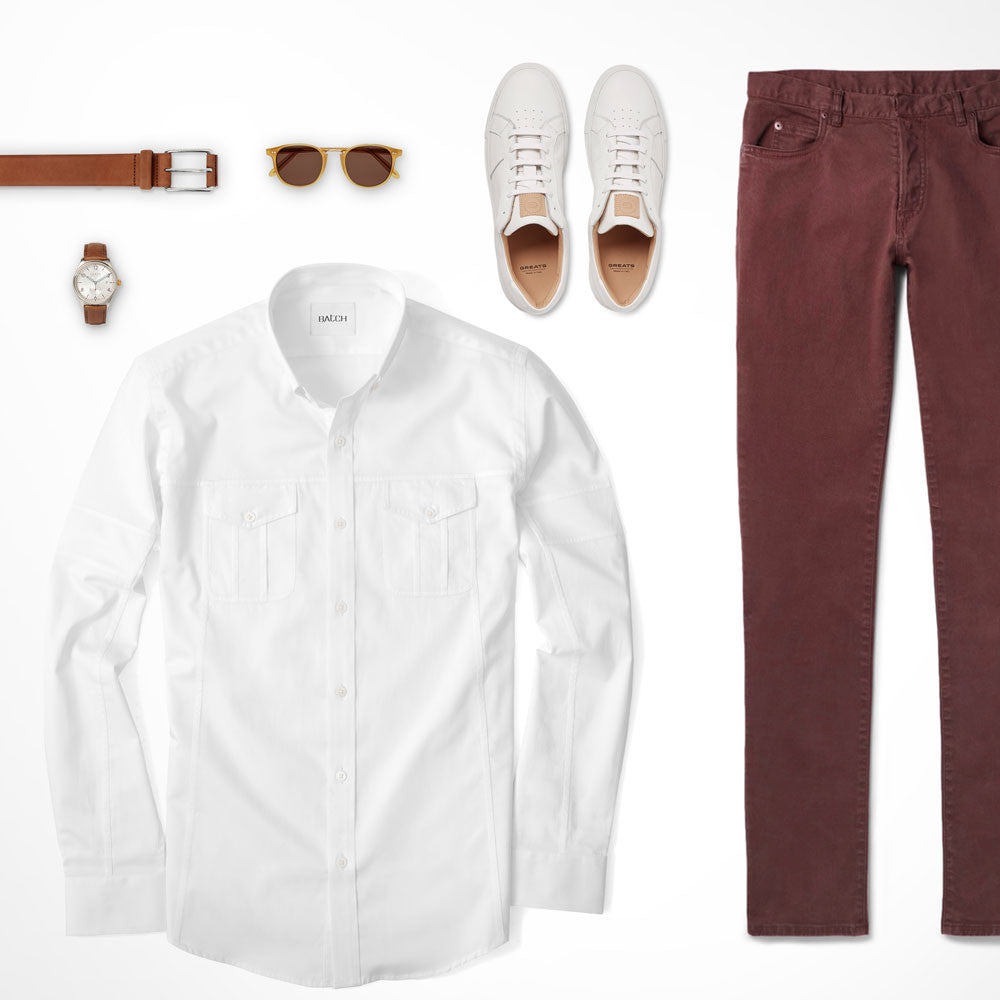 Burgundy Jeans Bottom Neutral Top Utility Shirt Outfit
