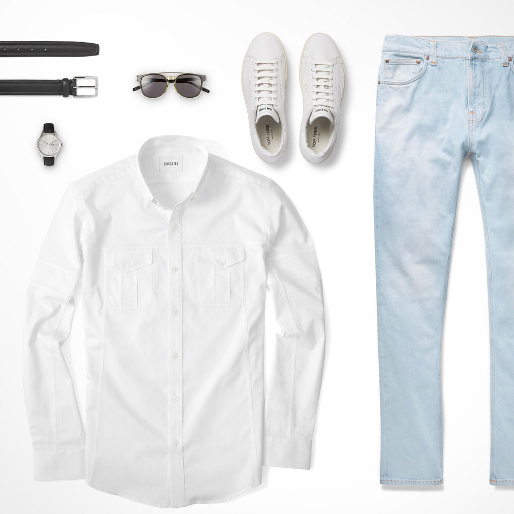 Light Jeans Bottom Neutral Top Utility Shirt Outfit