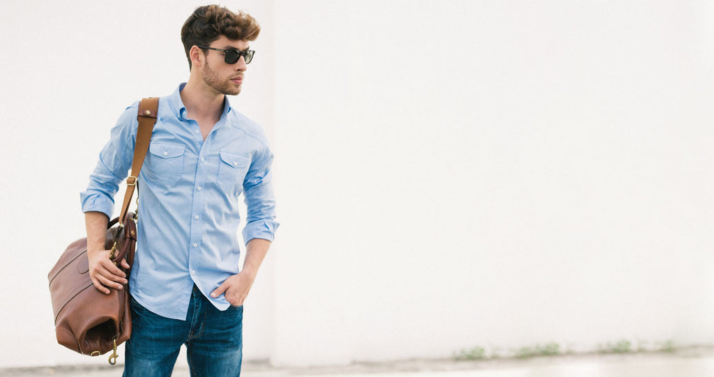 Light Blue Utility Shirt with Brown Bag