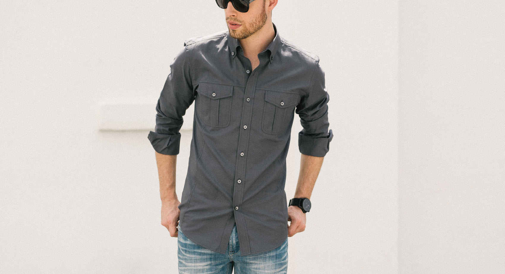 Dark Navy Men's Utility Shirt