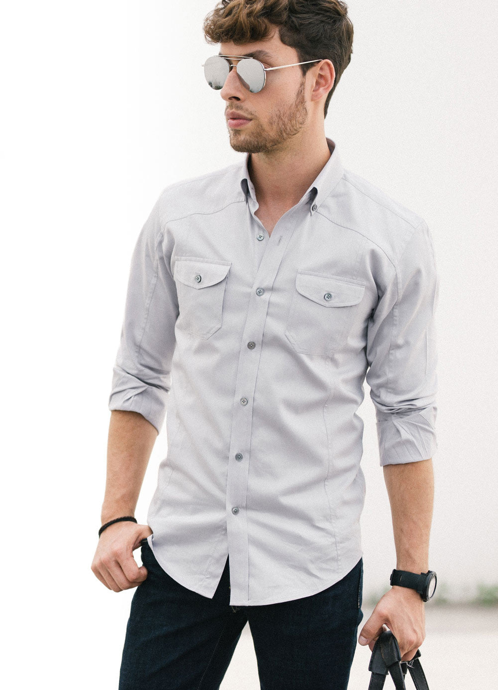 Grey Utility Shirt Rolled Sleeves