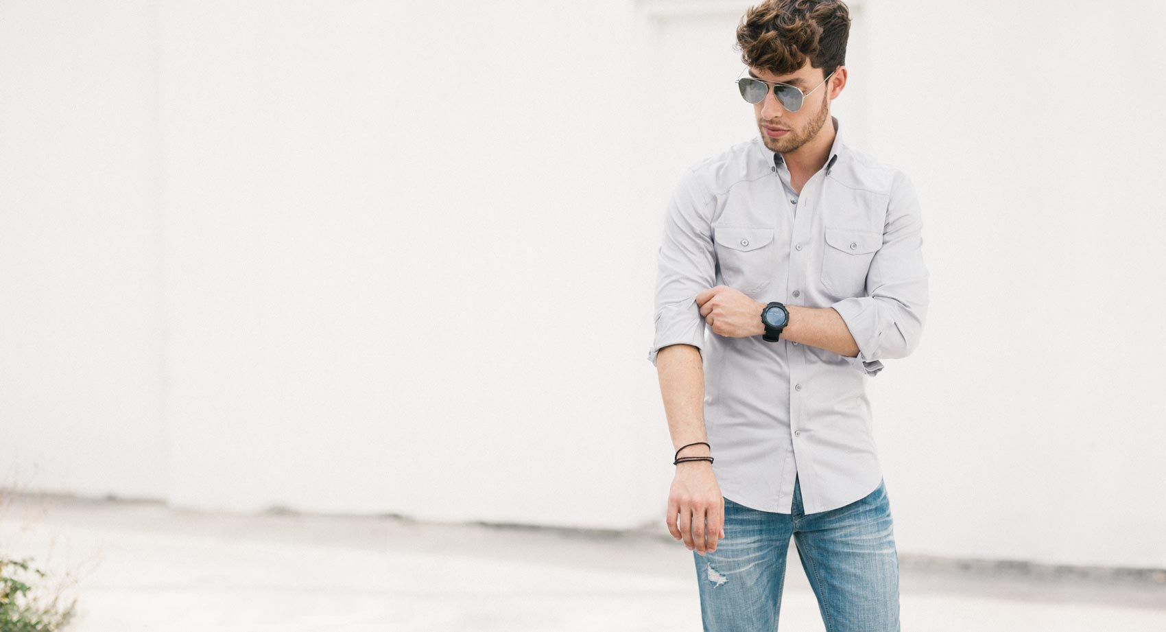 Light Grey Men's Utility Shirt