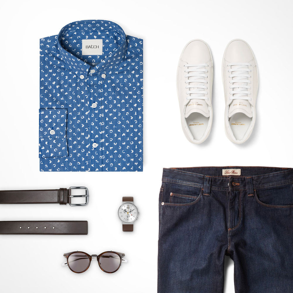 Pattern Button Down Shirt Outfit with Dark Jeans