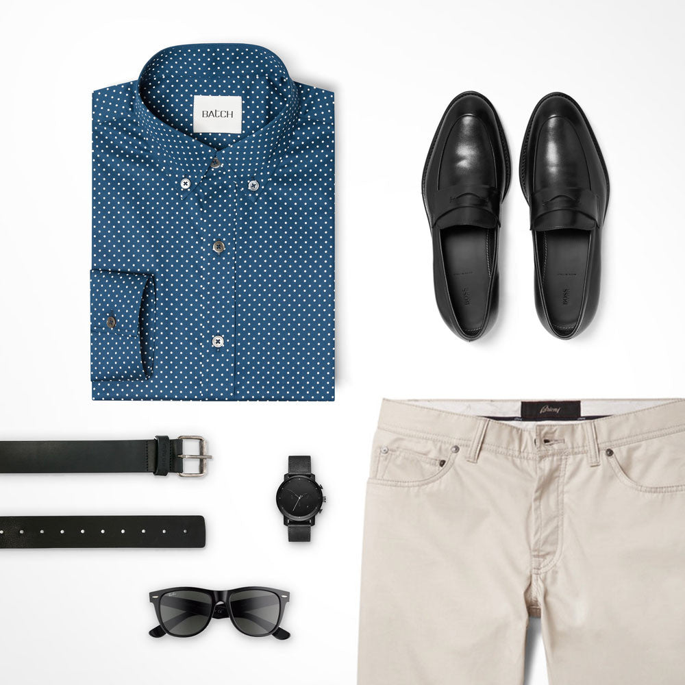 Pattern Button Down Shirt Outfit with Khakis