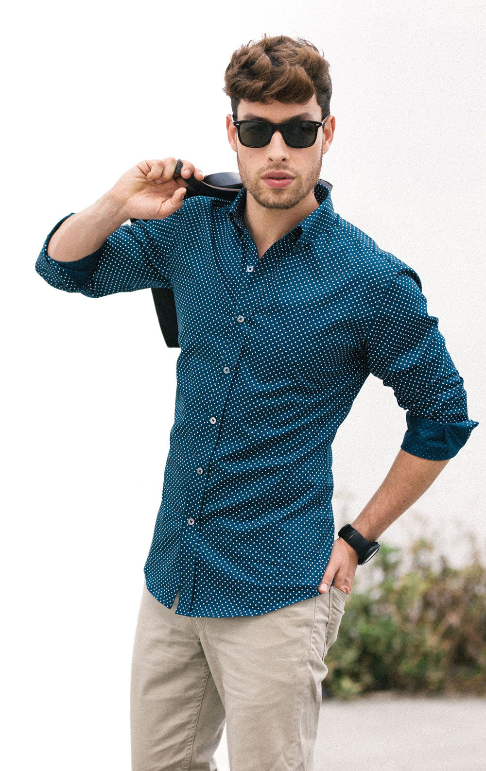 Pattern On Top Outfit Navy Pindot Shirt