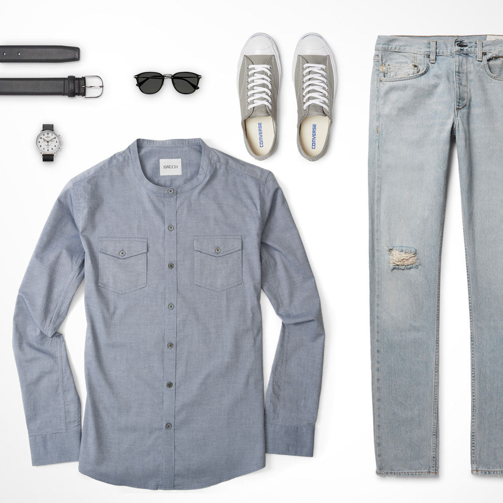Blue Solid Same Color Outfit Collarless Shirt