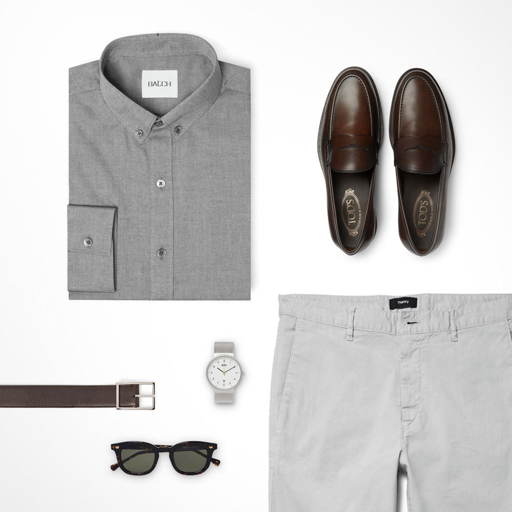 Grey Tone-on-tone Outfit Casual Shirt