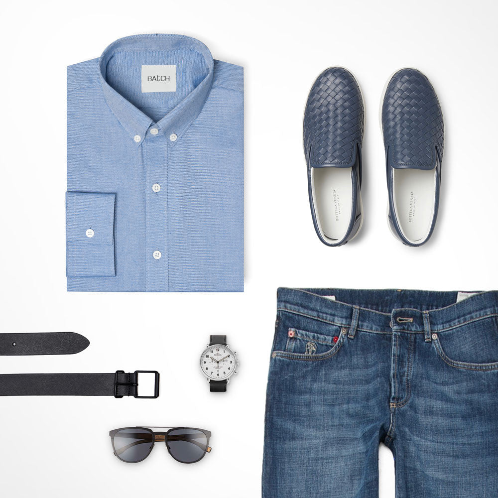 Blue Tone-on-tone Outfit Casual Shirt