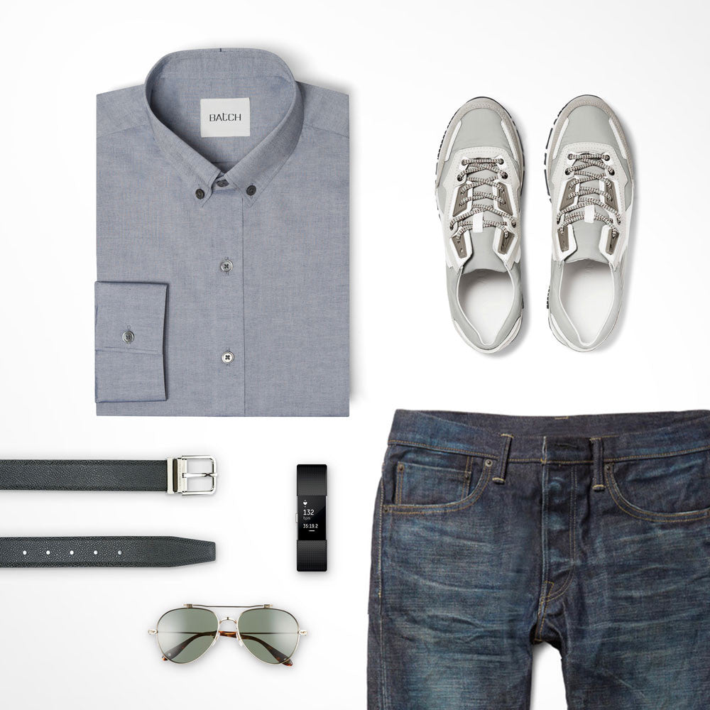Navy Tone-on-tone Outfit Casual Shirt