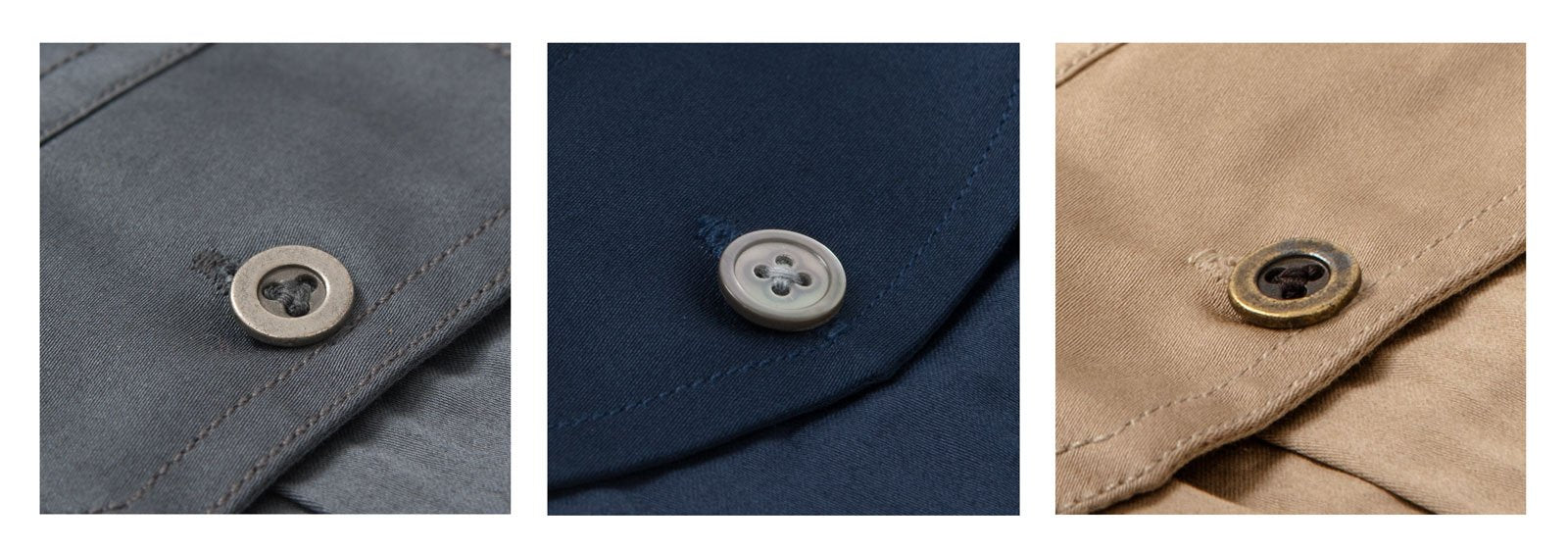 Mother-of-Pearl and Metal Buttons on Men's Button Up Shirt