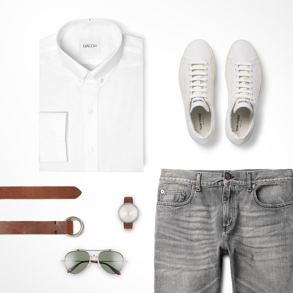 White Casual Button Down Shirt Outfit with Jeans