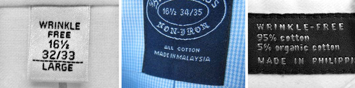 Wrinkle Free Non-Iron Shirt Labels
