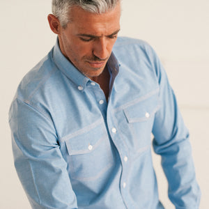 Author Two Pocket Men's Casual Shirt In Clean Blue Stretch Cotton Oxford On Body Close-up