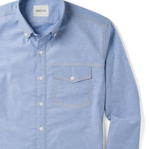 Author One Pocket Men's Casual Shirt In Clean Blue Stretch Cotton Oxford Close-Up Image