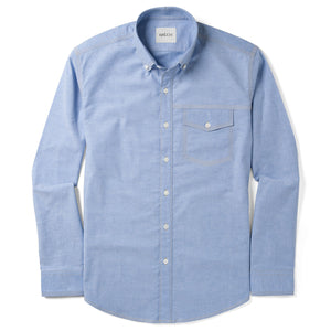 Author One Pocket Men's Casual Shirt In Clean Blue Stretch Cotton Oxford