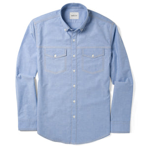 Author Two Pocket Men's Casual Shirt In Clean Blue Stretch Cotton Oxford