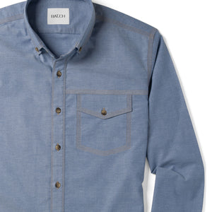Author One Pocket Men's Casual Shirt In Harbor Blue Stretch Cotton Oxford Close-Up Image