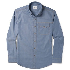 Author One Pocket Men's Casual Shirt In Harbor Blue Stretch Cotton Oxford