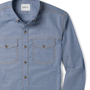 Author Two Pocket Men's Casual Shirt In Harbor Blue Stretch Cotton Oxford Close-Up Image