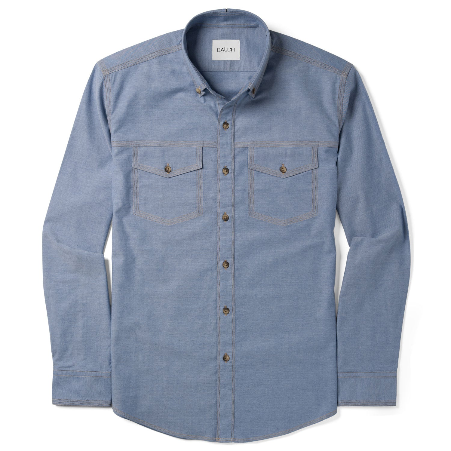 Author Casual Shirt Two Pockets – Harbor Blue Stretch Oxford
