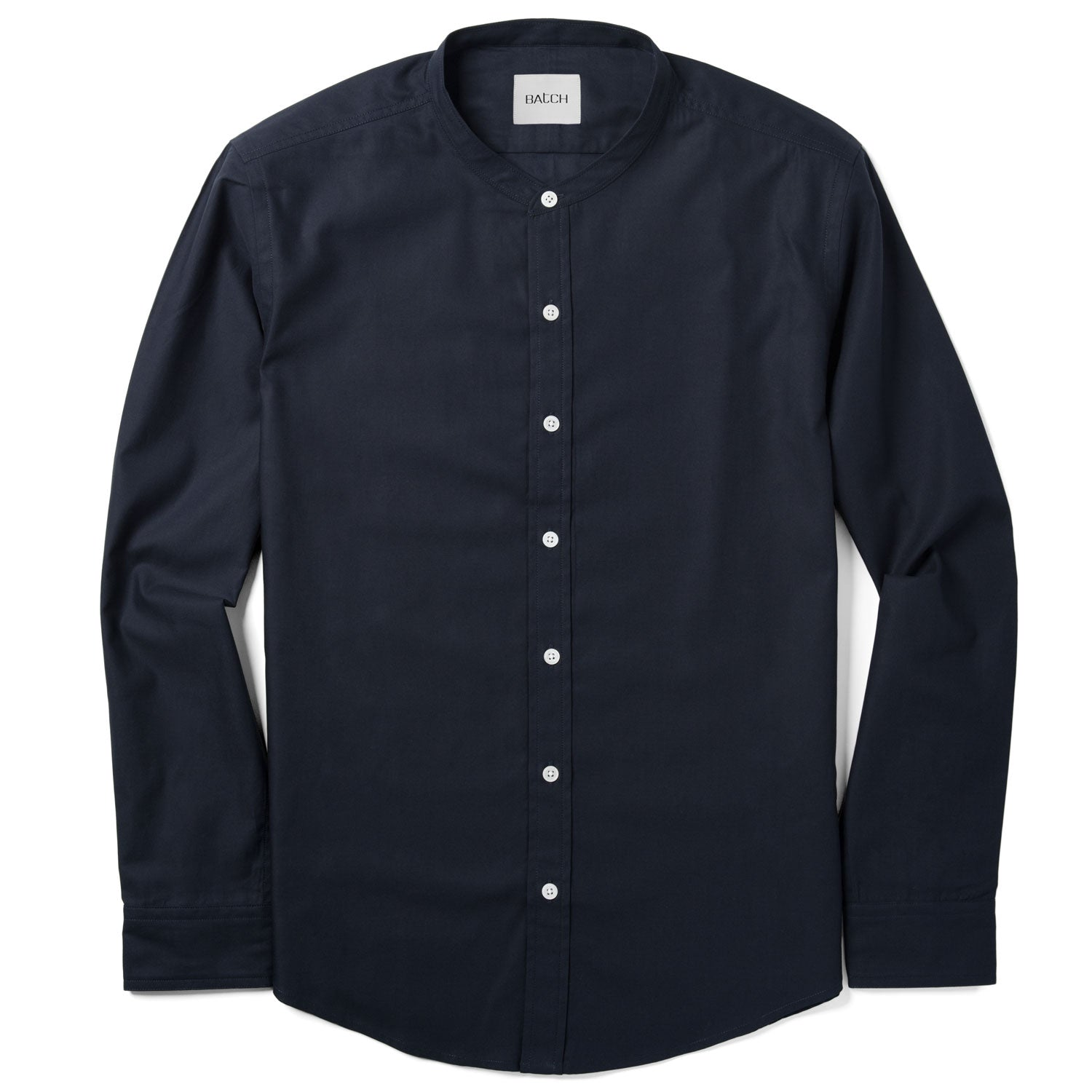 Essential Band-Collar Casual Shirt - WB Dark Navy Mercerized Cotton