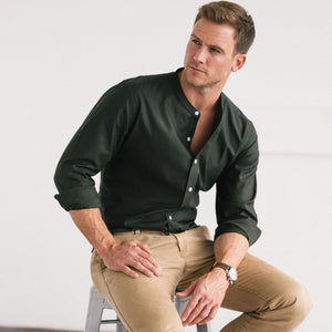 Essential Band Collar Men's Casual Shirt In Olive Green Mercerized Cotton With White Buttons On Body