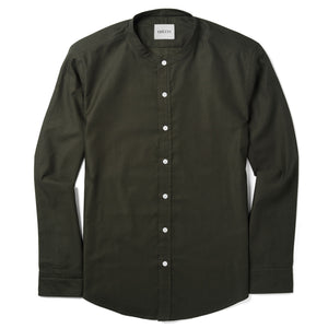 Essential Band Collar Men's Casual Shirt In Olive Green Mercerized Cotton With White Buttons