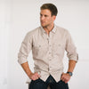 Light Tan Spread Collar Men's 2 Patch Pocket with Roll Sleeves Utility Shirt Western Details in Cotton - on model