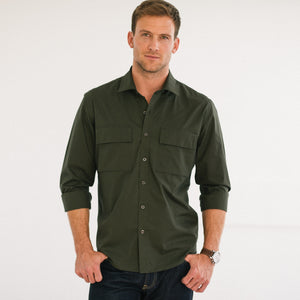 Specialist Two Pocket Men's Utility Shirt In Olive Green Cotton Poplin On Body