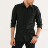 Convoy Two Pocket Men's Utility Shirt In Pure Black Mercerized Cotton On Body