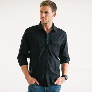 Convoy Two Pocket Men's Utility Shirt In Pure Black Mercerized Cotton On Body 2