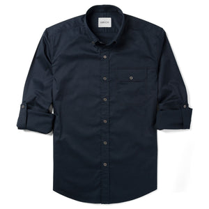 Builder One Pocket Men's Casual Shirt In Dark Navy Stretch Cotton Twill With Sleeves Rolled Up