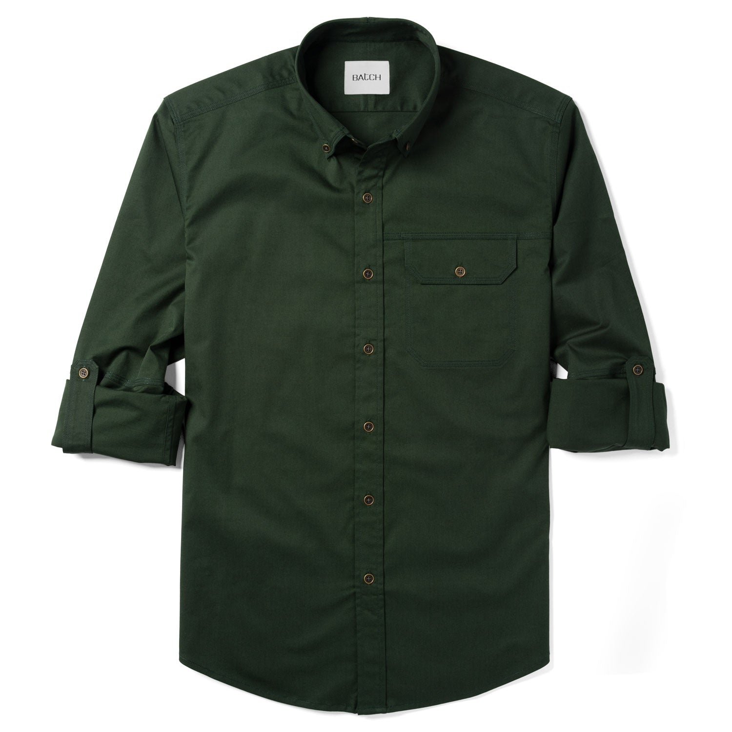 Builder One Pocket Casual Shirt – Olive Green Stretch Twill