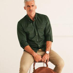 Builder Two Pocket Casual Shirt – Olive Green Stretch Twill