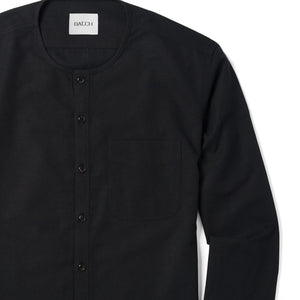 Collarless One Pocket Men's Casual Shirt In Jet Black Cotton Canvas Close-Up Image