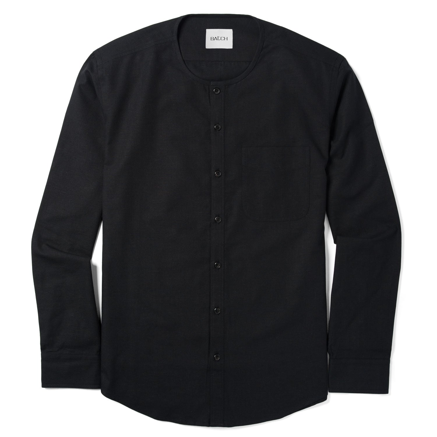 Collarless Casual Shirt - Jet Black Cotton Canvas