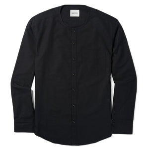 Collarless One Pocket Men's Casual Shirt In Jet Black Cotton Canvas