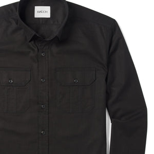 Constructor Two Pocket Men's Utility Shirt In Jet Black Cotton Twill Close-Up Image