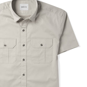 Constructor Two Pocket Short Sleeve Men's Utility Shirt In Cement Gray Stretch Cotton Twill Close-Up Image