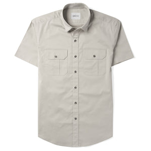 Constructor Two Pocket Short Sleeve Men's Utility Shirt In Cement Gray Stretch Cotton Twill