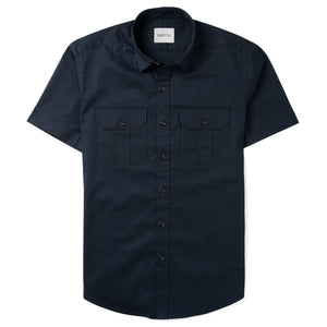 Constructor Two Pocket Short Sleeve Men's Utility Shirt In Dark Navy Stretch Cotton Twill