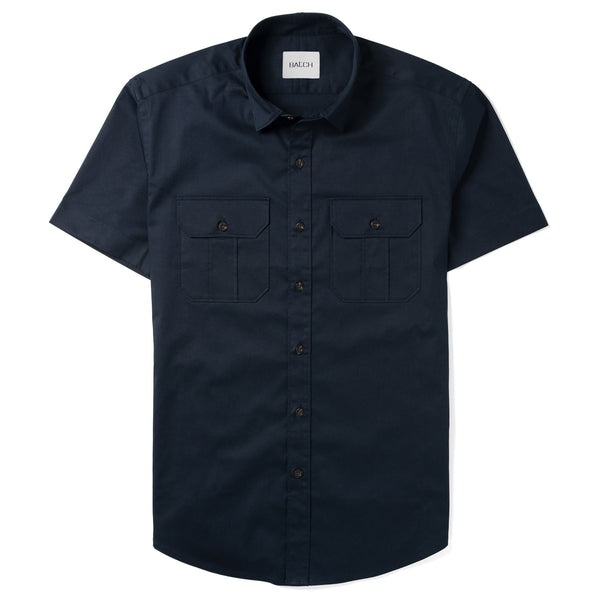 Constructor Short Sleeve Utility Shirt –  Dark Navy Cotton Stretch Twill