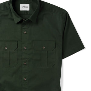Constructor Two Pocket Short Sleeve Men's Utility Shirt In Dark Olive Green Stretch Cotton Twill Close-Up Image