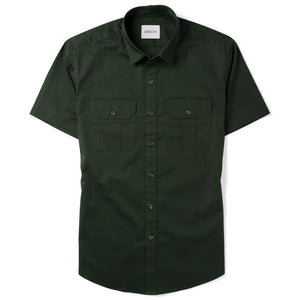 Constructor Two Pocket Short Sleeve Men's Utility Shirt In Dark Olive Green Stretch Cotton Twill