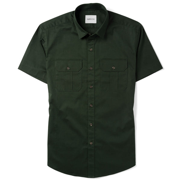Constructor Short Sleeve Utility Shirt –  Dark Olive Green Cotton Stretch Twill