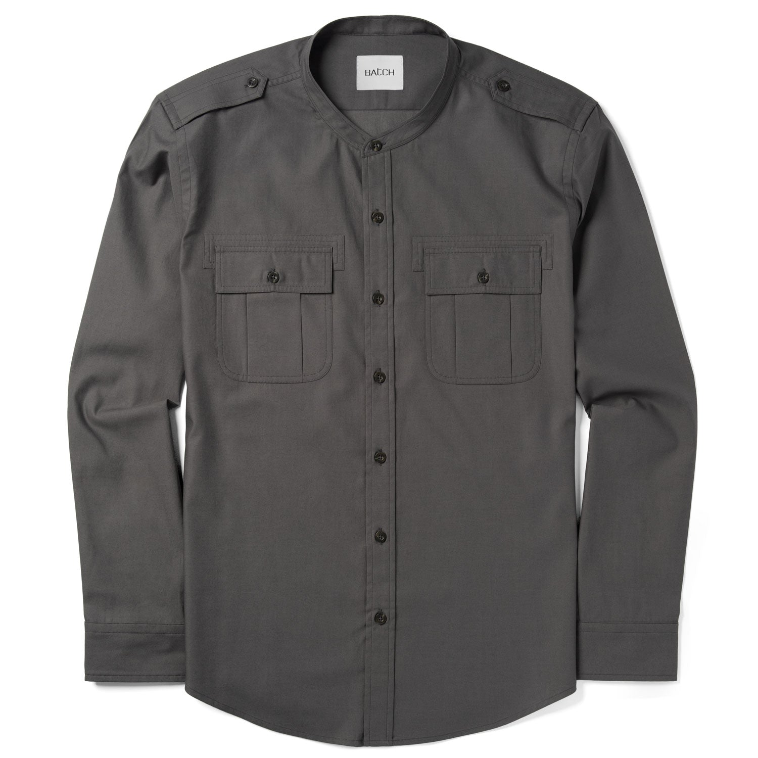 Convoy Band Collar Utility Shirt – Industrial Gray Mercerized Cotton