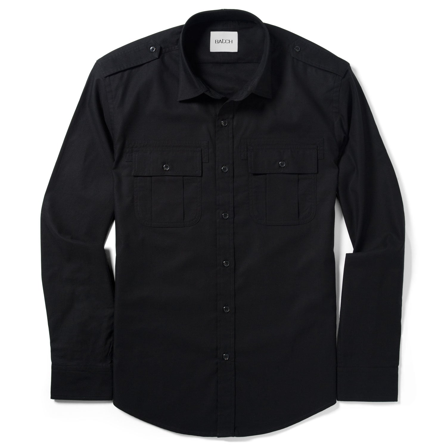 Convoy Utility Shirt – Pure Black Mercerized Cotton