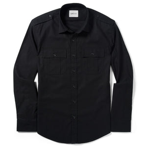 Convoy Two Pocket Men's Utility Shirt In Pure Black Mercerized Cotton